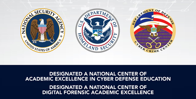 Seals of the National Security Agency, the U.S. Department of Homeland Security, and the Department of Defense