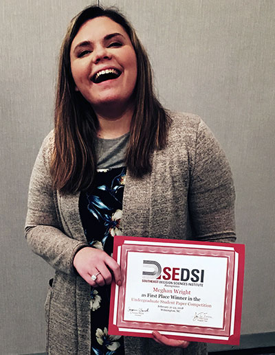 Meghan Wright Holding SEDSI First Place Award